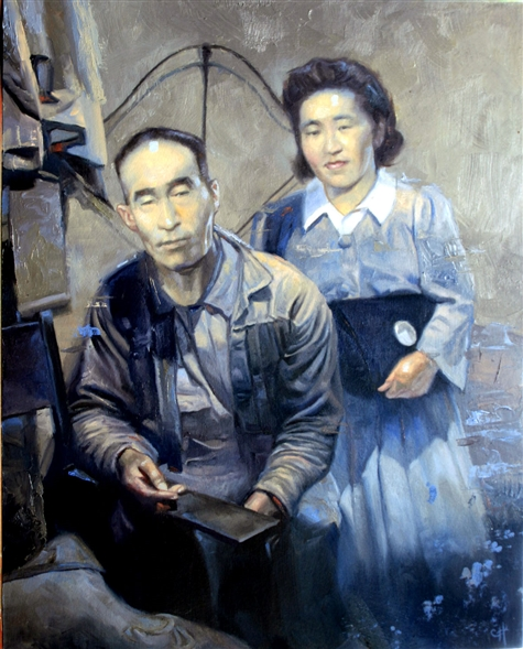 Chris Hopkins - Oil Painter - Internment - Tad and Fuji Itami, Minidoka
